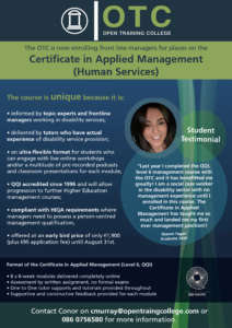 Certificate in Applied Management – Early Bird Summer Offer @ Open Training College